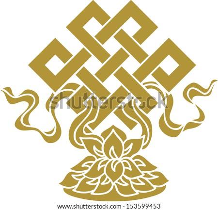 Tibetan endless knot, eternal, Buddhism, Lotus - stock vector