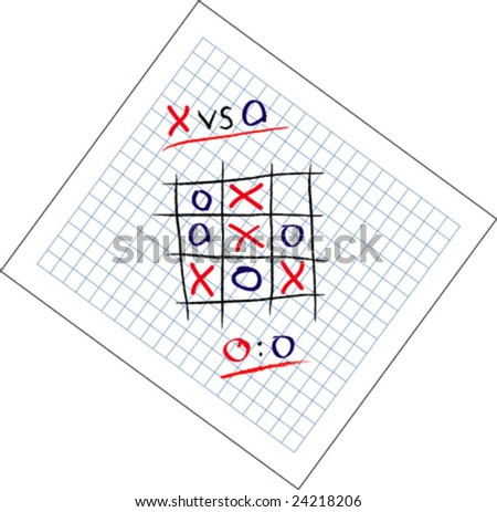 Tic Tac Toe game draw vector illustration. Fully editable, easy color change. - stock vector
