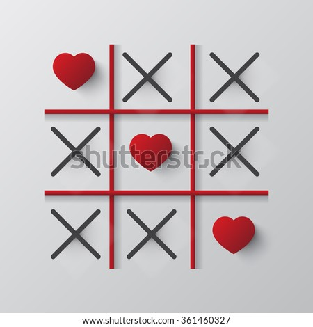 Tic tac toe game with cross and heart - stock vector