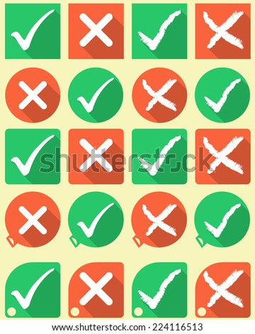 Tick and cross buttons and symbols flat style - stock vector