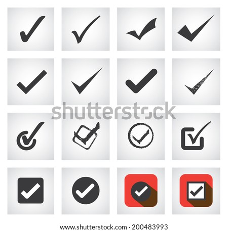 tick mark or right sign vector icons collection set. This graphic can also represent approval, right choice, correct selection, true option, positive answer, saying yes, acceptance, confirmation, etc  - stock vector