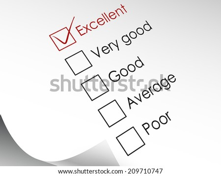 tick placed in excellent check box in red over check list  - stock vector