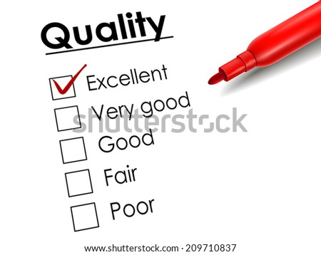 tick placed in excellent check box with red pen over quality survey - stock vector