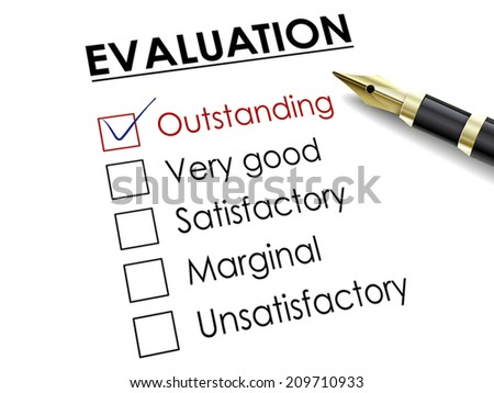 tick placed in outstanding check box with fountain pen over evaluation survey - stock vector