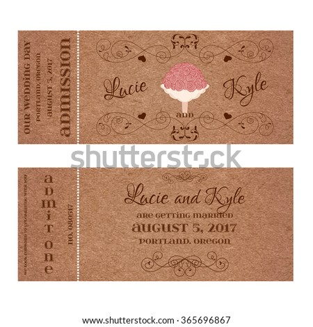 Ticket for Wedding Invitation with bouquet - stock vector