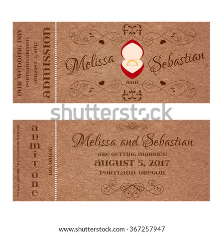 Ticket for Wedding Invitation with wedding golden ring in a red box - stock vector