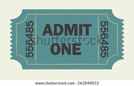 Ticket icon isolated on white background. Colorful vector illustration of cinema or theater retro ticket. - stock vector