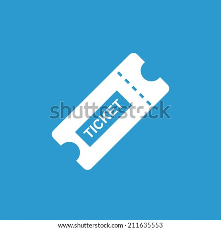 ticket icon, isolated, white on the blue background. Exclusive Symbols  - stock vector