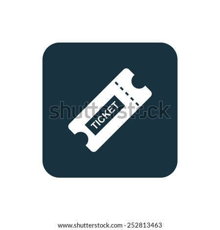 ticket icon Rounded squares button, on white background  - stock vector