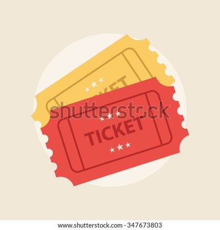Ticket icon vector illustration in the flat style. Ticket stub isolated on a background. Retro cinema tickets. Movie old ticket icon.  - stock vector