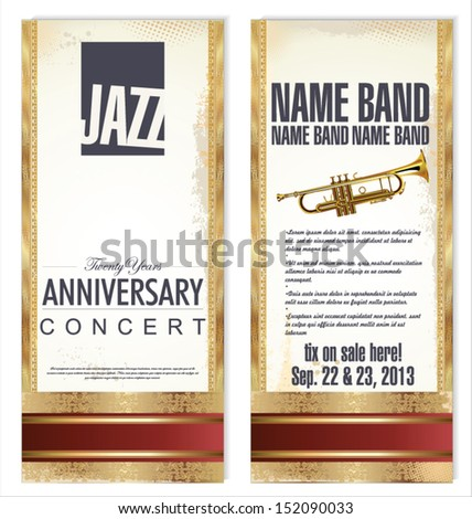 Ticket or flyer for jazz festival - stock vector