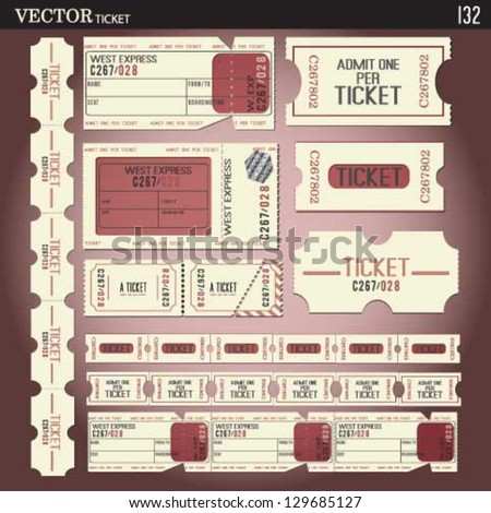 ticket set.vector coupon set. vector old ticket collection. - stock vector