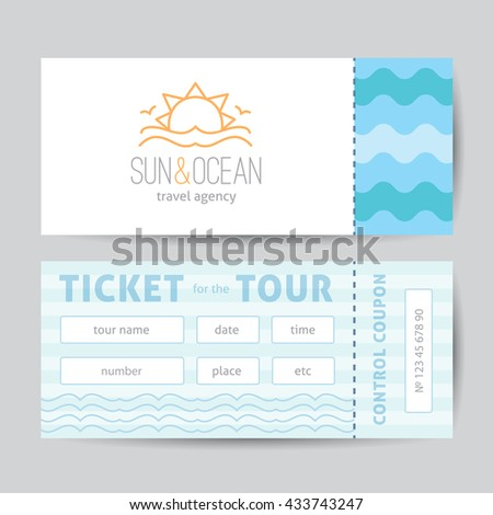 Ticket template with logo for travel agency. Sun, waves and seagulls, single line design - stock vector