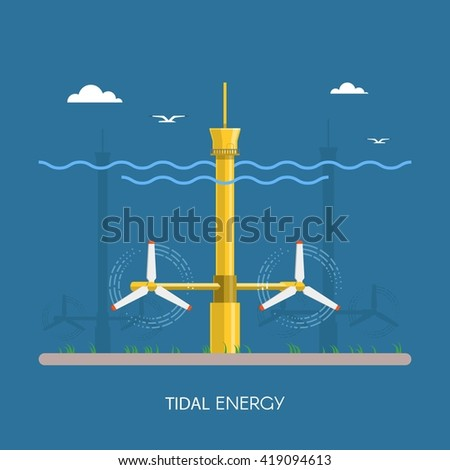 Tidal power plant and factory. Tidal turbines. Green energy industrial concept. Vector illustration in flat style. Tidal power station background. Renewable energy sources. - stock vector