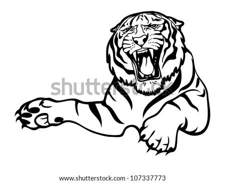 Tiger attack - vector illustration - stock vector