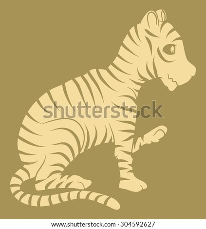 tiger cartoon shape vector illustration - stock vector