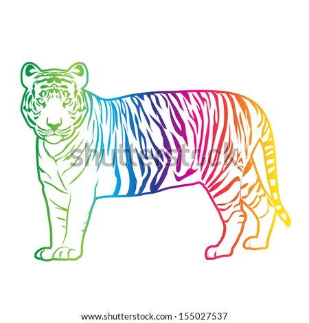 Tiger color vector - stock vector