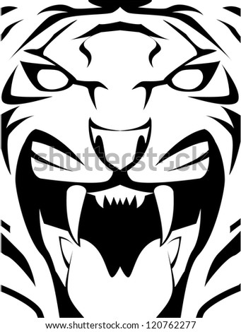 tiger face - stock vector