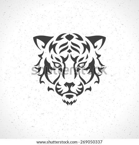 Tiger face logo emblem template mascot symbol for business or shirt design. Vector Vintage Design Element. - stock vector
