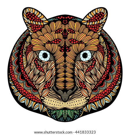 Tiger head. Adult antistress coloring page. Colored hand drawn doodle animal. Ethnic patterned vector. African, indian, totem tribal, zentangle design. Sketch for tattoo, poster, print, t-shirt - stock vector