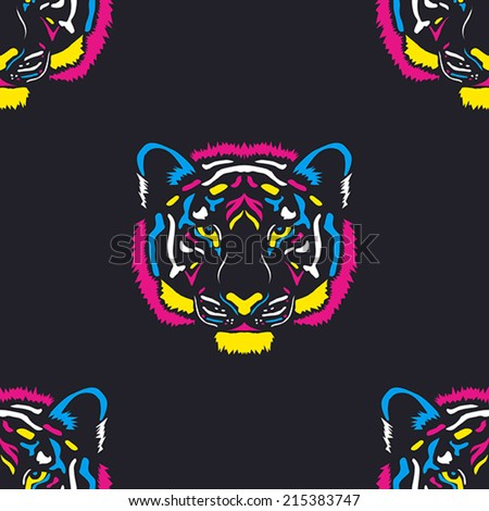 Tiger head colored cmyk colors vector pattern - stock vector