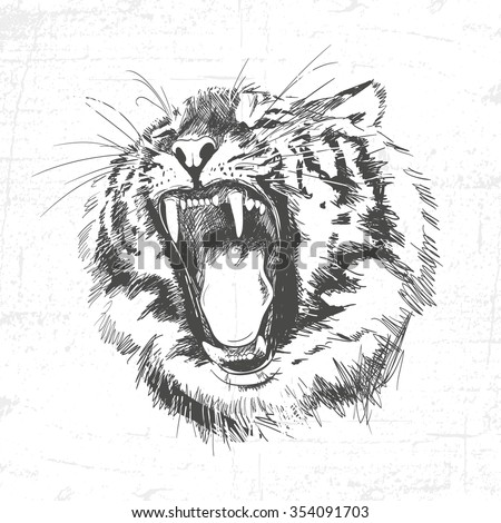 Tiger head silhouette - Vector illustration isolated on white background. See also other sets of animals. - stock vector