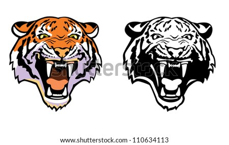 tiger head ,vector image,front view picture isolated on white background,colour and black white illustration - stock vector