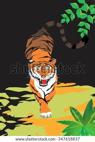 Tiger hunting at night - stock vector