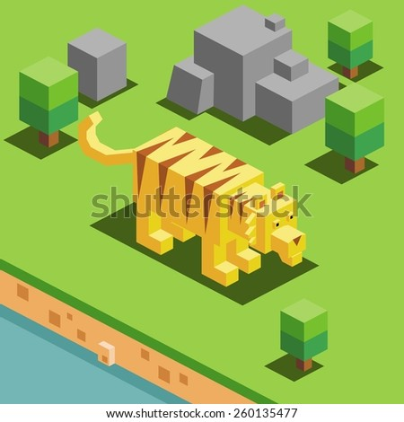 tiger in a zoo. vector illustration - stock vector