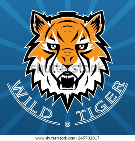 Tiger Logo Team Symbol Sport Mascot Isolated Vector Illustration - stock vector