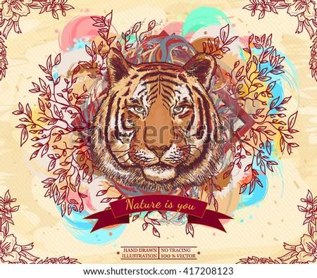 Tiger portrait wild nature live nature vintage animal art print hand drawn vector illustration - stock vector