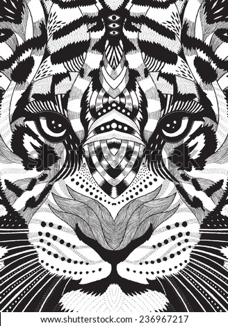 tiger psychedelic drawing - stock vector