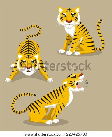 Tiger Roaring Hunting Observing, vector illustration cartoon. - stock vector