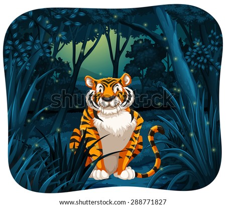 Tiger sitting with flireflies around - stock vector