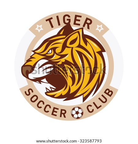 Tiger Soccer club logo badge - stock vector