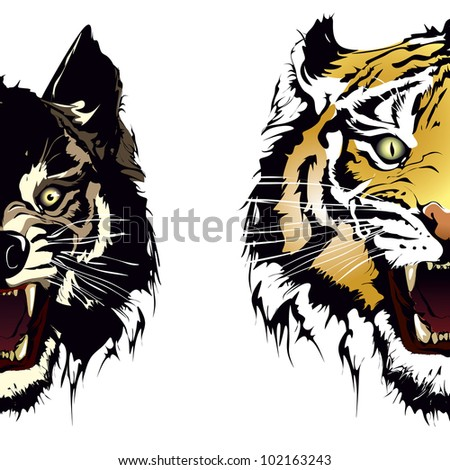 tiger wolf - stock vector