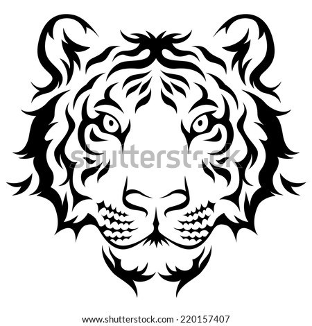 Tigers head Tribal tattoo design. Black isolated on white  - stock vector
