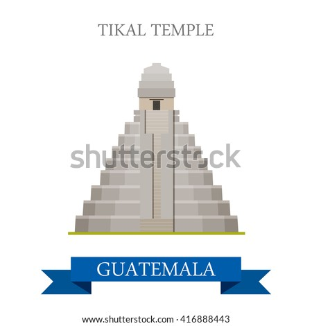 Tikal Temple in Guatemala. Flat cartoon style historic sight showplace attraction web site vector illustration. World countries cities vacation travel sightseeing Central America collection. - stock vector