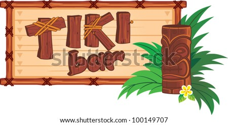 Tiki bar sign - stock vector