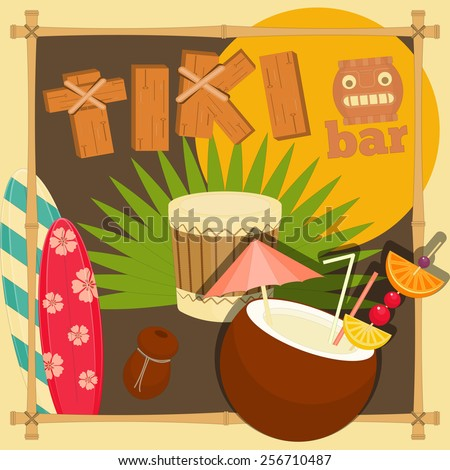 Tiki Bar. Summer Hawaii Card. Vector Illustration.  - stock vector