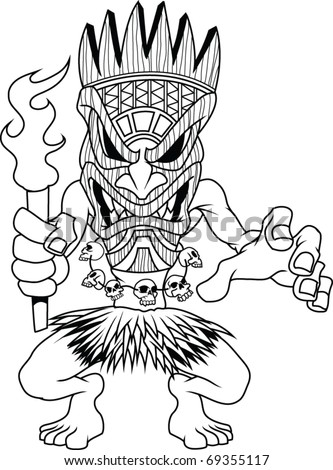 Tiki man - stock vector