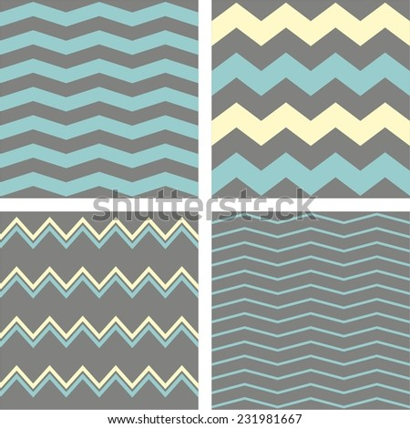 Tile chevron vector pattern set with grey, blue and yellow zig zag background - stock vector