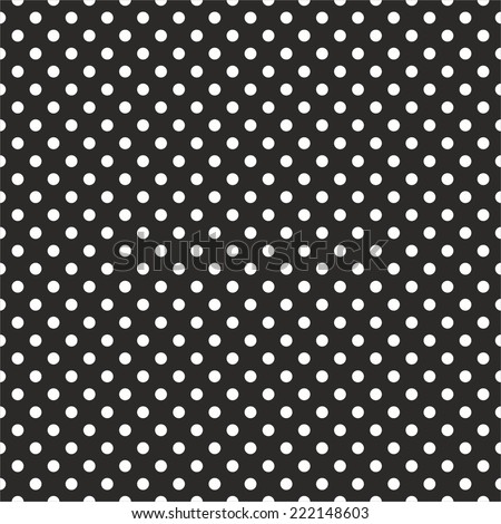 Tile dark vector pattern with white polka dots on black background - stock vector
