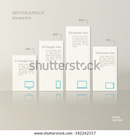 Tile design chart infographics with cloud computing icon set for report, statistics, presentation - ivory version - stock vector