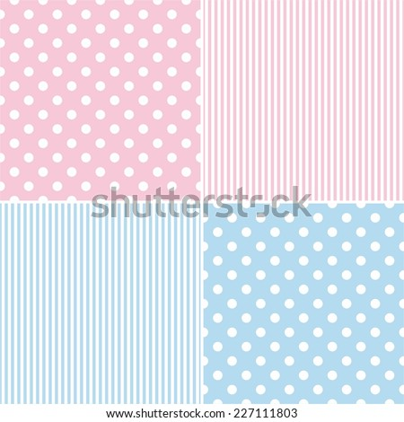 Tile vector pattern set with white polka dots and strips on pink and blue background - stock vector