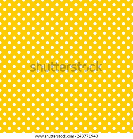 Tile vector pattern with white polka dots on yellow background - stock vector
