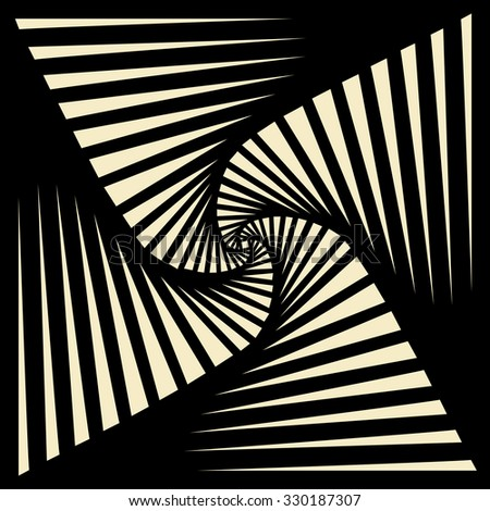 Tileable art quadrangle salient shape optical illusion op volumetric trickery form tracery template. Black and white tile creative recurring concave zig zag whirlpool torsion fan blades grid backdrop - stock vector