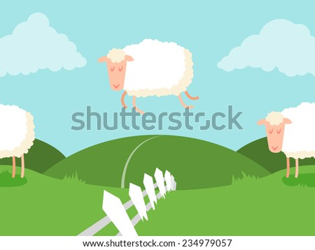 Tileable sheep jumping over the fence. It can be endless. Vector. - stock vector
