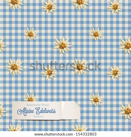 tiling alpine pattern with edelweiss flowers - stock vector