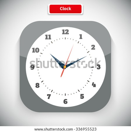 Time and clock icon. Time, watch, clock icon, alarm clock, wall clock,  digital clock, old clock. Clock flat icon. World time concept. Clock face blank. Vector simple classic white round wall clock - stock vector